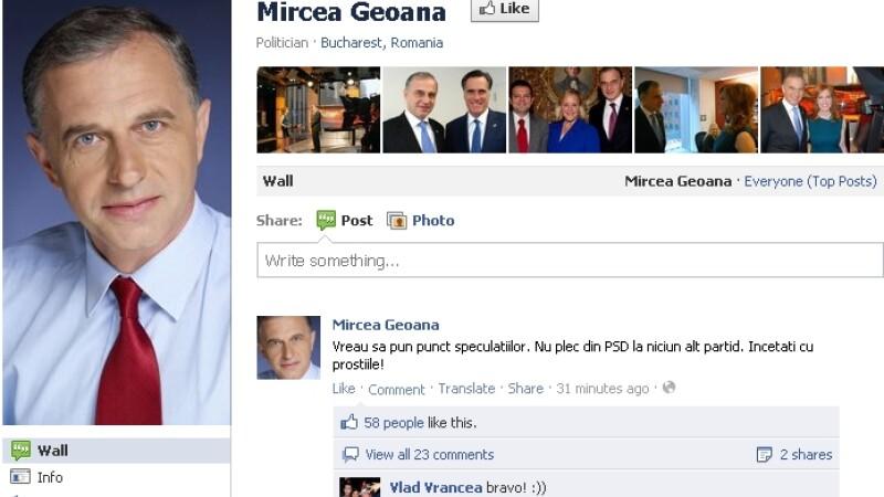 Geoana pe Facebook