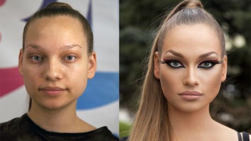 Transformare radicala. Cum arata mai multe tinere inainte si dupa ce sunt machiate. Galerie foto