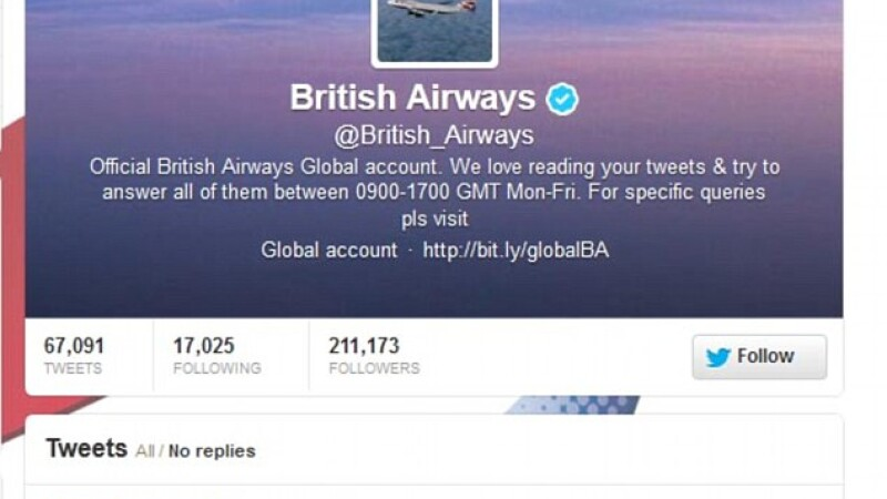 mesaj Twitter, British Airways
