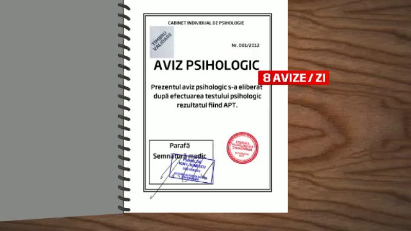 CAMERA ASCUNSA. Cum se falsifica un aviz psihologic pentru un permis de port-arma in Romania