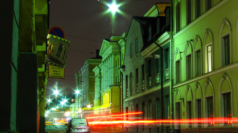 Helsinki noaptea efecte lumina