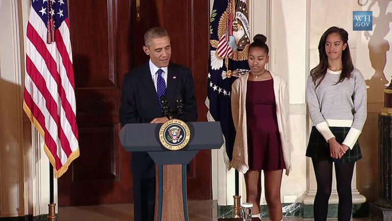 fetele lui Obama la ceremonia gratierii curcanului