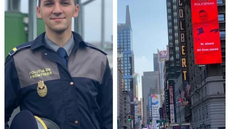 Poliţistul român de 23 de ani a cărui fotografie e afişată în Times Square. \