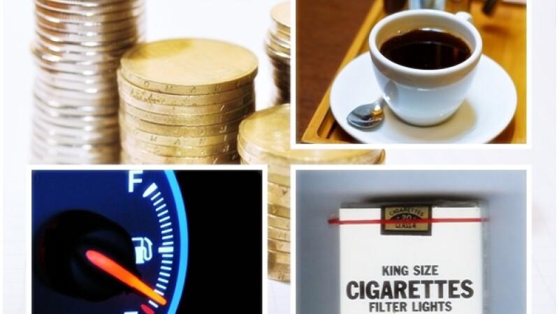 accize, benzina, tigari cafea