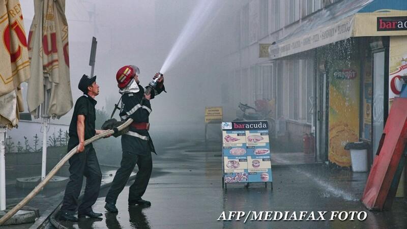 Incendiu, pompieri, centru