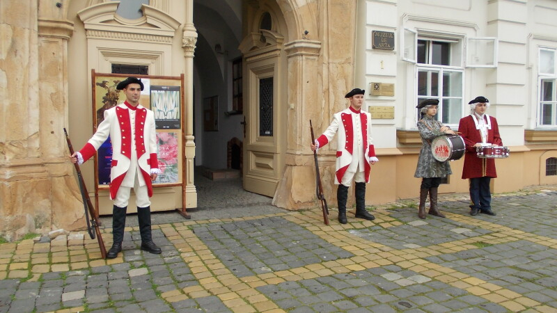 Muzeul de Arta din Timisoara, pazit de o garda militara de epoca. GALERIE FOTO