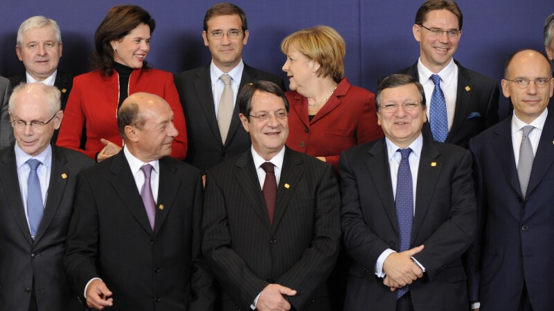 Traian Basescu, Angela Merkel, Jose Manuel Barroso, David Cameron