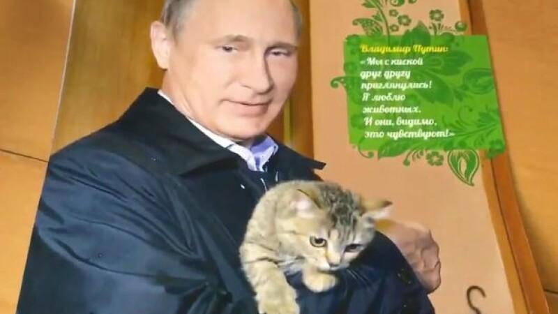 Putin, catarat in copac si cu mana pe pisica. In ce ipostaze a mai aparut liderul la Kremlin in calendarul oficial pe 2017