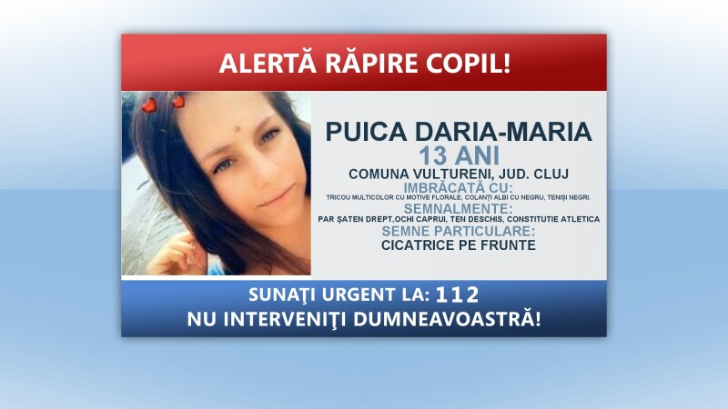 Alerta rapire copil fata Cluj