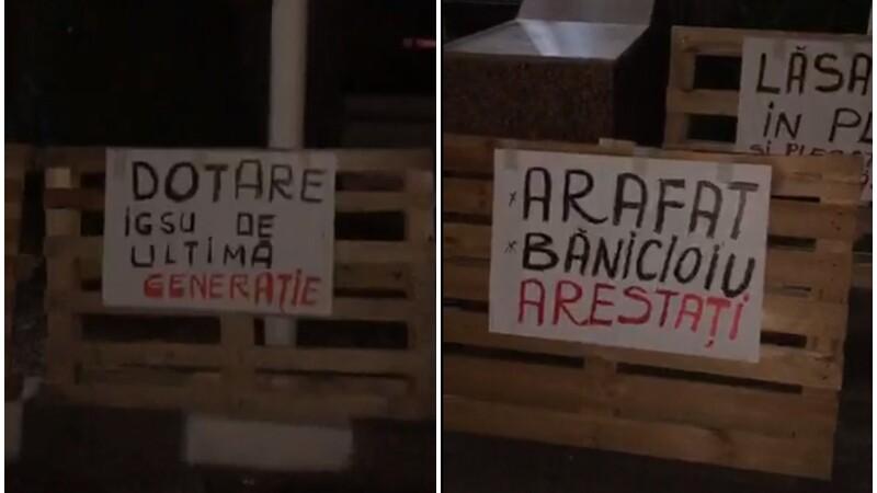 Protest cu paleţi la ISU Bucureşti