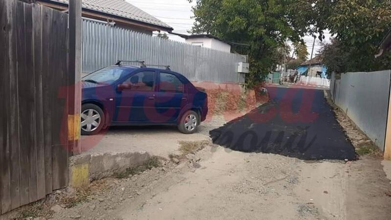 Primăria Huși a asfaltat o stradă doar până la poarta cetățeanului care o critica pentru că nu are grijă de acel drum