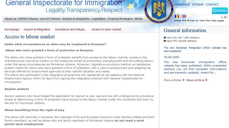 eroare Inspectoratul General pentru Imigranti