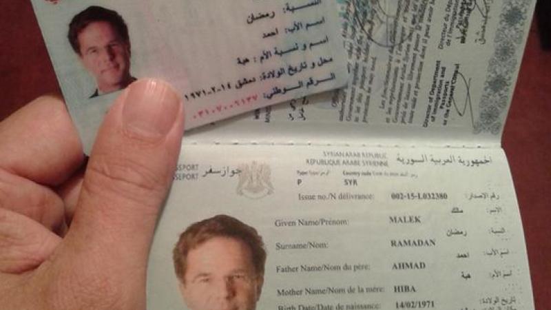 Un jurnalist a cumparat cu 750 de euro un pasaport sirian contrafacut cu fotografia premierului olandez