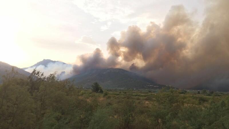 Natura le strica vacantele turistilor romani din Grecia. Un incendiu a izbucnit sambata dimineata pe insula Thasos