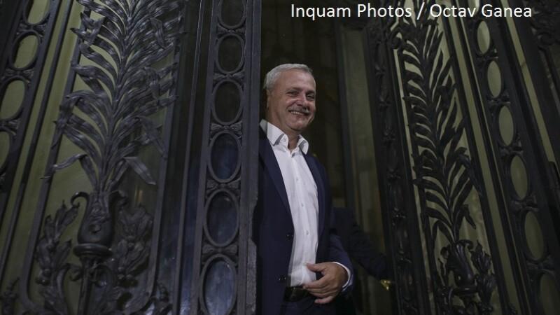 Presedintele PSD, Liviu Dragnea, face declaratii de presa pe scarile sediului Partidului Social Democrat