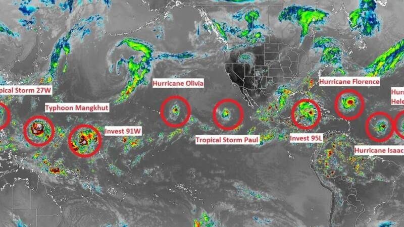 9 furtuni tropicale formate simultan pe planetă. Ce spun experții despre fenomen
