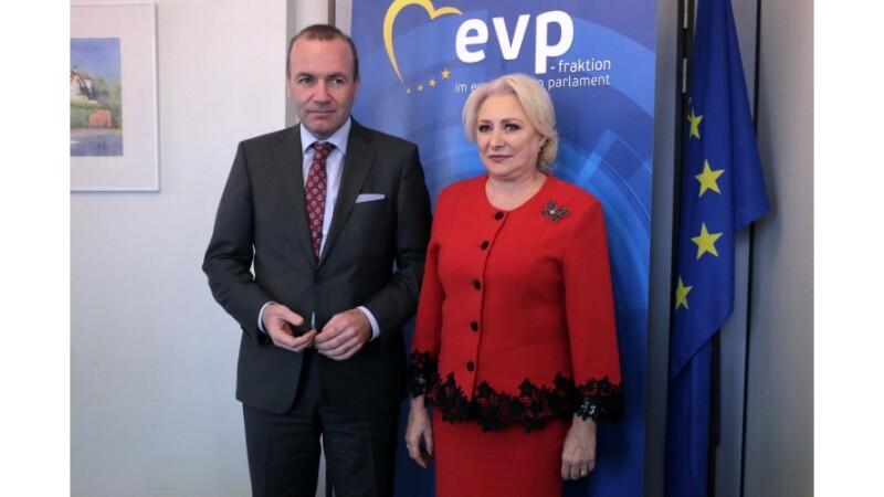 Viorica Dăncilă, schimb de opinii cu Manfred Weber despre situaţia din România