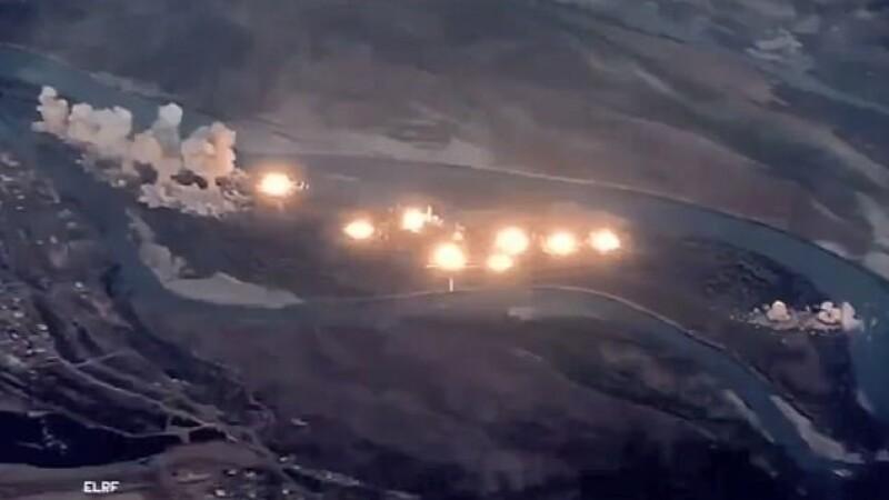 """Momentul în care avioanele Statelor Unite bombardează """"o insul infectată"""" a ISIS"""