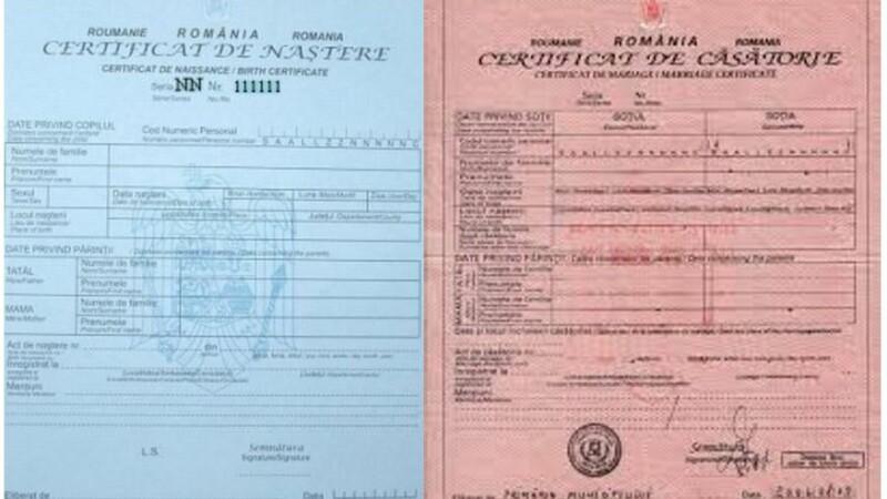 certificat nastere si casatorie