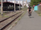 Biciclist în gară