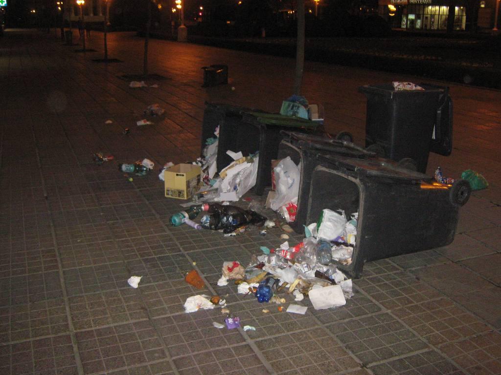 Vandalizare urat mirositoare, in centrul Timisoarei. Vizate au fost toate cosurile de gunoi