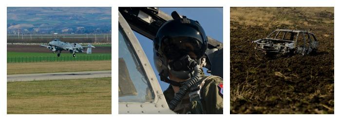 Primele imagini cu cele 12 avioane de lupta Warthog in exercitii, la Campia Turzii. Pozele publicate de armata americana
