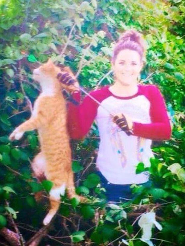 Imaginea care a starnit furie pe Facebook. O tanara, medic veterinar, a ucis cu o sageata motanul vecinilor. Ce mesaj a scris
