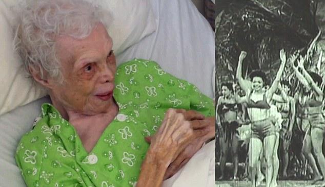 Reactia unei batrane de 102 ani, fosta dansatoare in trupa lui Frank Sinatra, cand vede pentru prima data imagini video cu ea