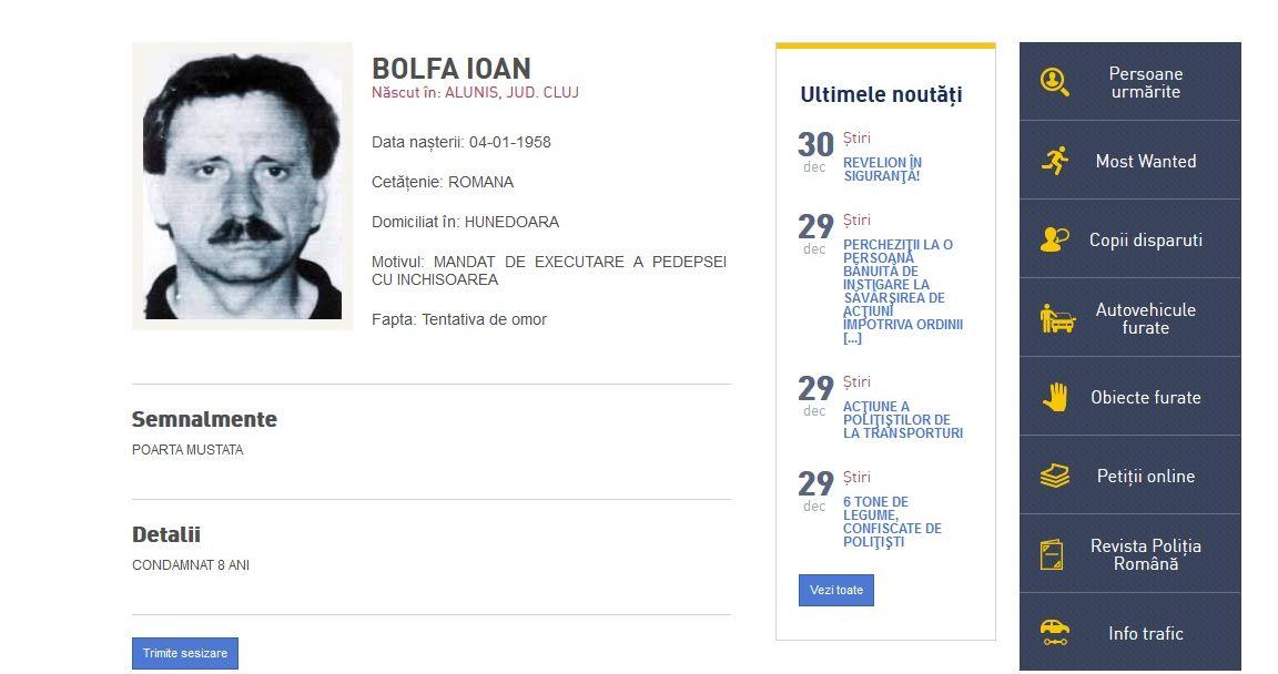 """Un barbat condamnat pentru tentativa de omor, cautat de 16 ani, care era pe lista """"Most Wanted"""", adus in Romania din Turcia"""