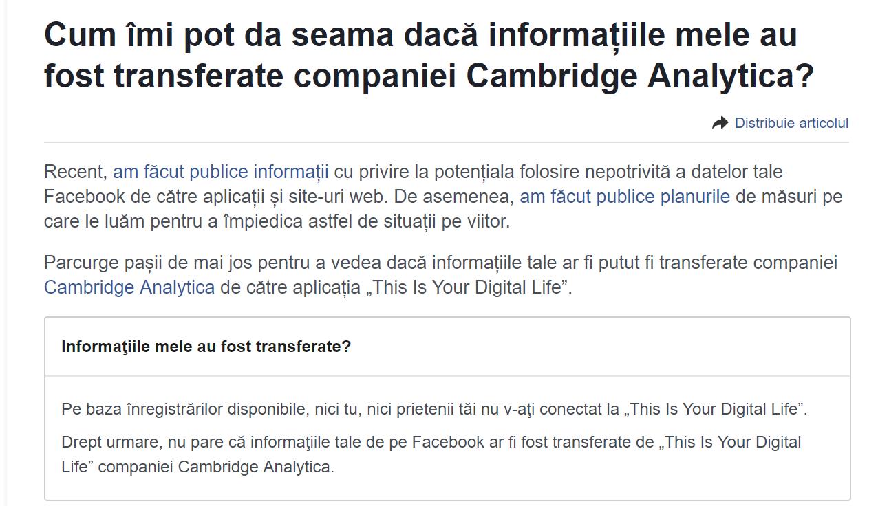 Modalitățile prin care puteți afla dacă firma Cambridge Analytica v-a preluat datele personale