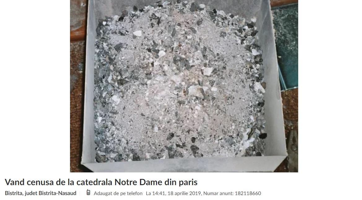 Romanii au scos la vanzare pe internet cenusa de la Notre-Dame. Preturile afisate