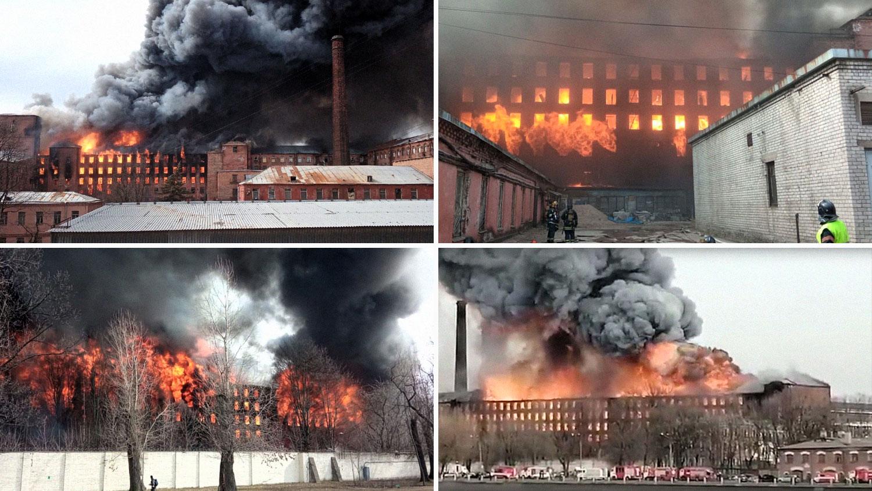 VIDEO. Incendiu uriaș în Sankt Petersburg. Fabrică istorică, mistuită de flăcări