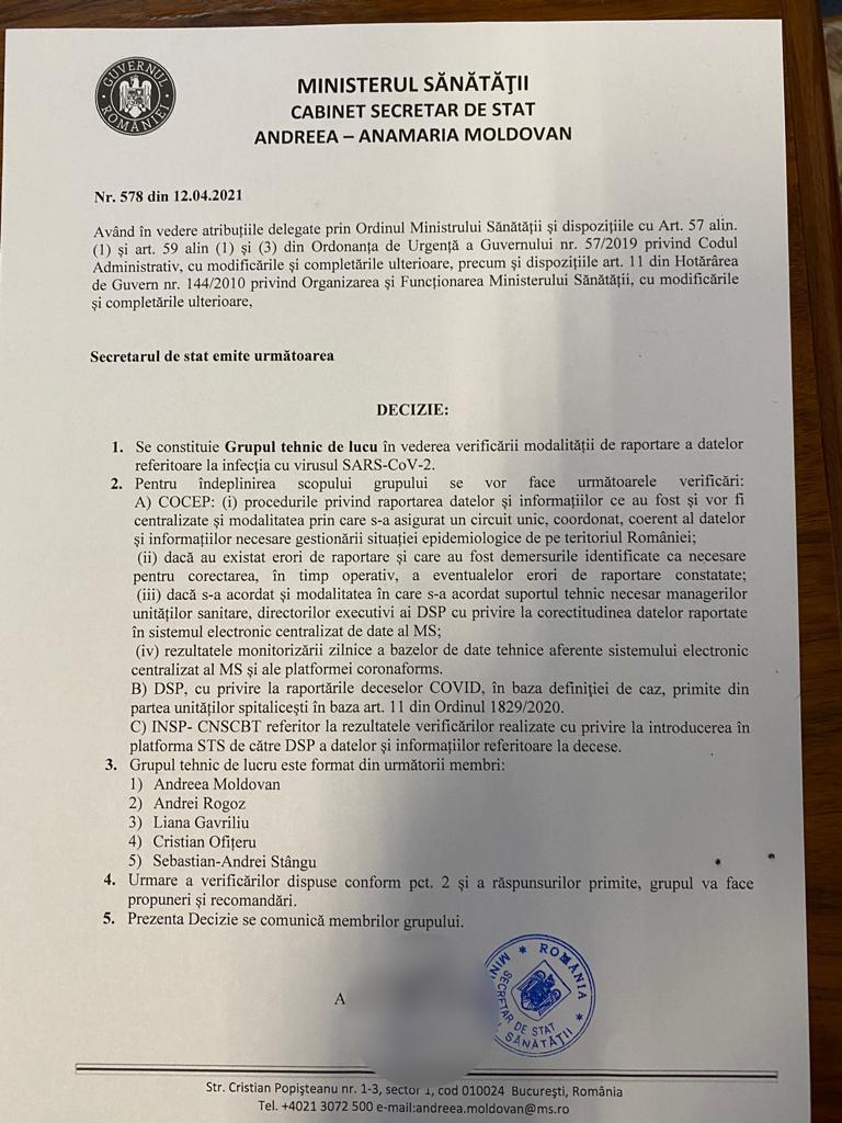 DOCUMENT. Decizia de formare a grupului care trebuia să verifice raportarea deceselor de Covid, trimisă premierului Cîțu