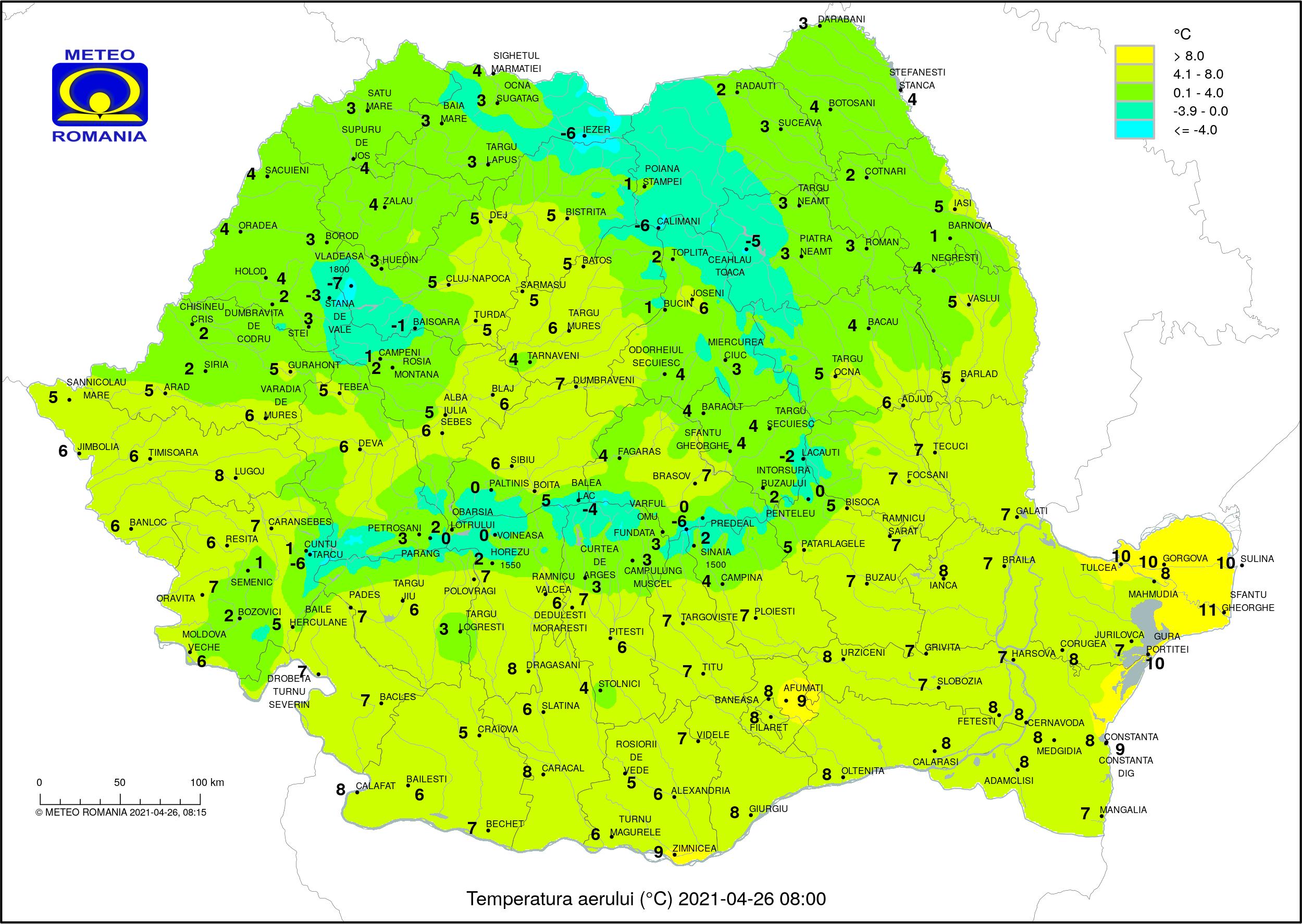 Vremea azi, 26 aprilie. Frig și ploi în toată țara