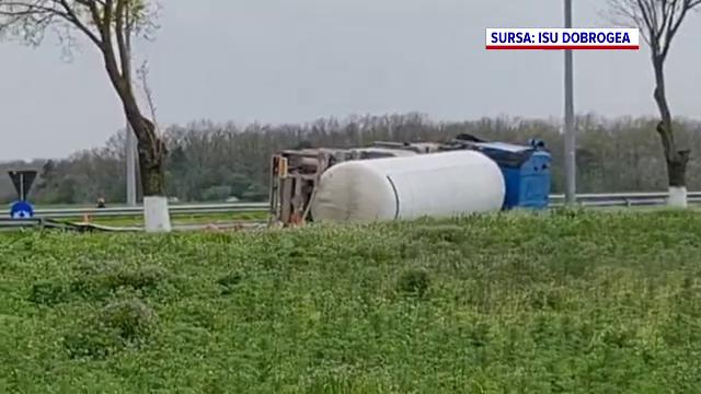 Cisternă cu GPL, răsturnată lângă Aeroportul Mihail Kogălniceanu. Ce s-a întâmplat