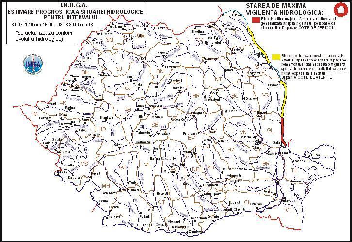Cod rosu de inundatii pe raul Prut,zona aferenta judetelor Vaslui si Galati