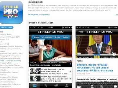 Stirileprotv.ro - cea mai accesata aplicatie Iphone de stiri. Pro FM conduce topul la radio