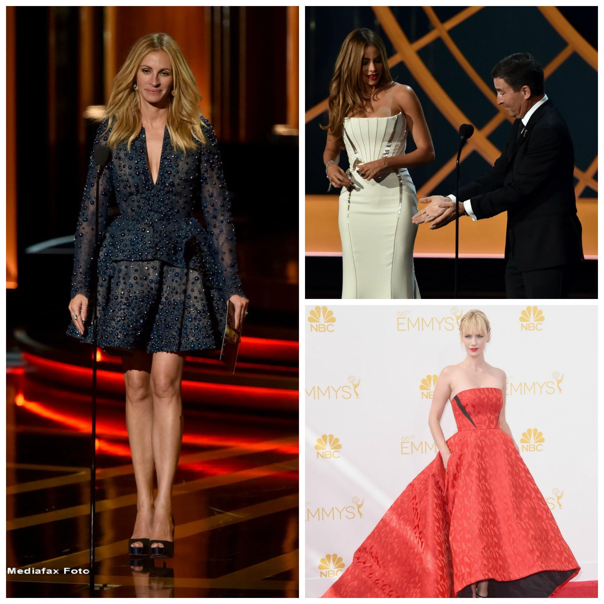 Moda la gala Emmy 2014: Vedetele au ales rosu si alb pentru defilarea pe covorul rosu