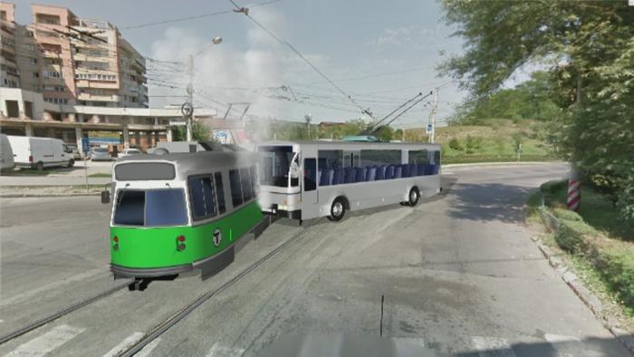 ANIMATIE GRAFICA. 12 persoane au fost ranite dupa ce un tramvai a fost lovit in plin de un troleibuz