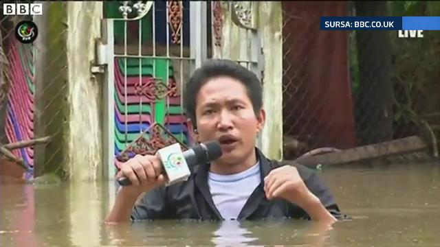 Transmisiune in direct inedita. Gestul facut de un jurnalist din Myanmar ca sa arate cat de grava este situatia in tara lui
