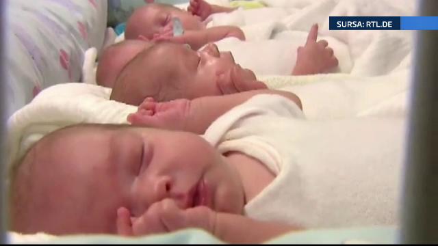 Cvadrupletii nascuti prematur de o femeie de 65 de ani din Germania pot parasi spitalul. Bebelusii sunt sanatosi