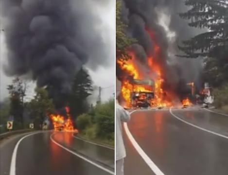 Doua TIR-uri au luat foc, dupa ce s-au ciocnit in judetul Suceava. Circulatia intre Moldova si Ardeal, intrerupta peste 2 ore