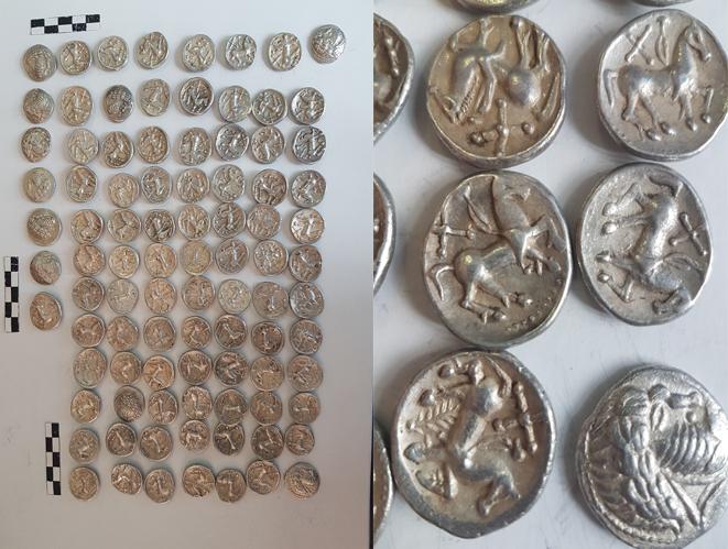 91 de monede geto-dacice din argint, descoperite de un cautator de comori in Vrancea. Ce a facut cu ele. FOTO