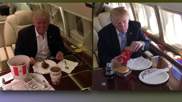 Cum crede Donald Trump ca se mananca fast-food. Imaginile pentru care candidatul republican a fost ironizat de toata lumea