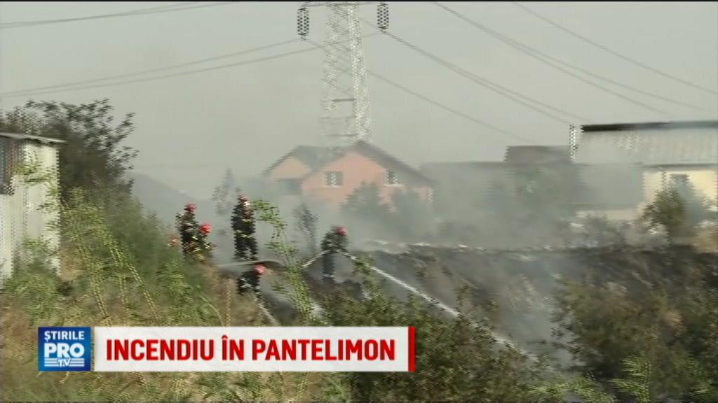 Un incendiu de vegetatie din judetul Ilfov a mistuit o casa. Sapte autospeciale de pompieri se lupta cu flacarile