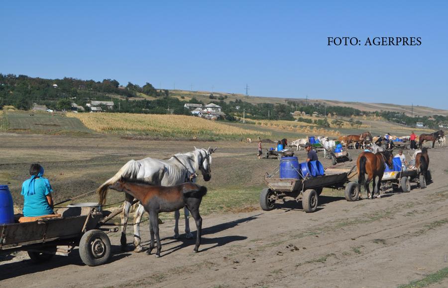 Satul din Botosani unde oamenii stau la coada la APA cu carutele.