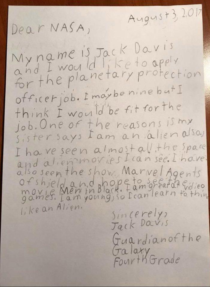 """Un copil de 9 ani a cerut NASA să fie angajat ca """"gardian al galaxiei"""". Răspunsul primit"""
