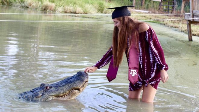 Studenta care s-a fotografiat la absolvire cu un aligator de 4 metri