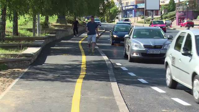 """Cum arată pista de biciclete din Pitești. """"Bani irosiți"""""""