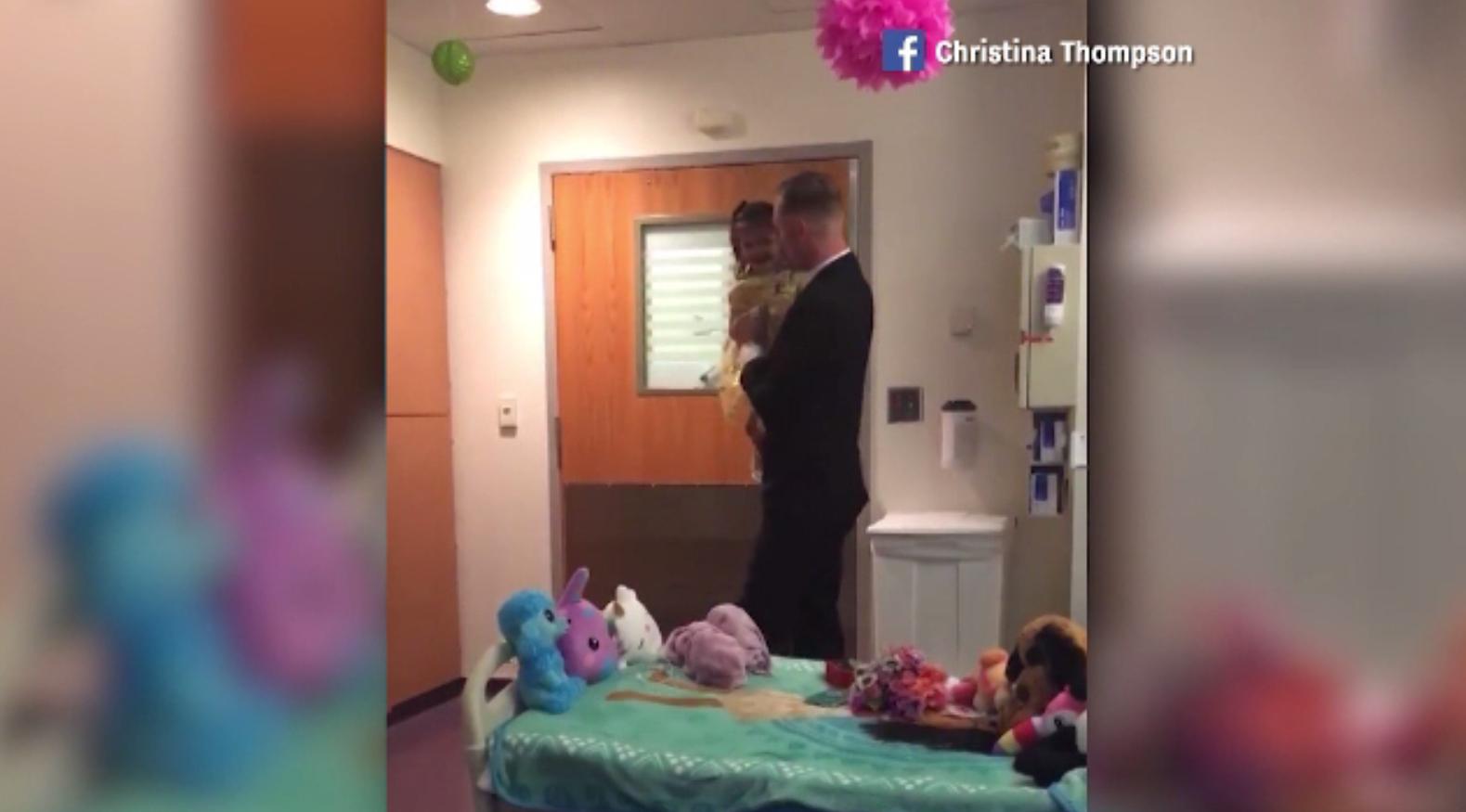 Surpriza făcută de un tată fiicei lui de doi ani, bolnavă de leucemie